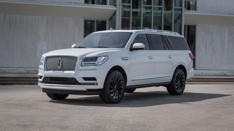 This photo provided by Ford shows the 2020 Lincoln Navigator, a three-row luxury SUV with a twin-turbocharged V6 engine and strong maximum towing capacity. (Eric Perry/Courtesy of Ford Motor Co. via AP)