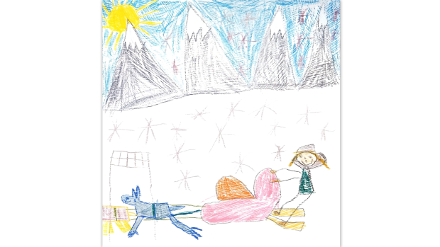 """Dog sled finish line"" by Payten, Grade two student of Almonte"