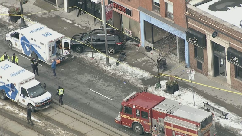 A woman has been seriously injured and two children have been hurt following a crash on St. Clair Avenue, west of Dufferin Street.