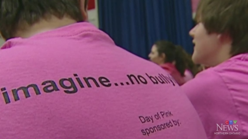 Wearing pink to take a stand against bullying