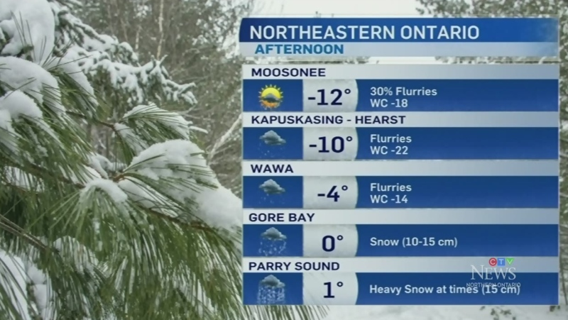 Snow continues across northeastern Ontario