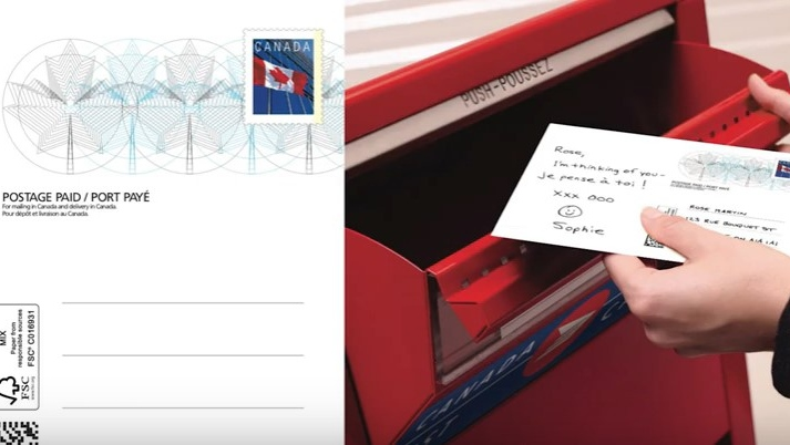 Postage-free postcard. (Canada Post / YouTube)