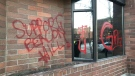 Graffiti is pictured on City of Victoria office buildings on Feb. 24, 2021 (Adam Stirling)