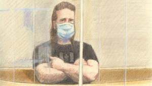 A court sketch of Corey Hurren at court on Feb. 23, 2021. (Credit: Lauren Foster-MacLeod)