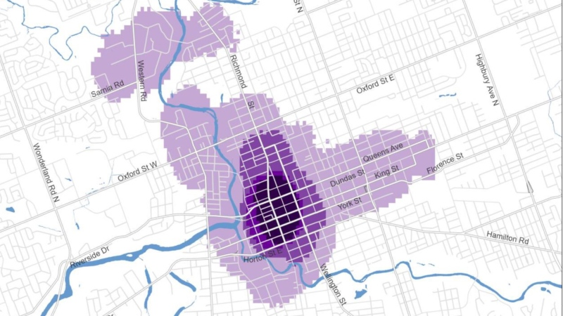 Safe Cities Action Plan map of London, Ont. where women feel safe and unsafe. (Supplied)
