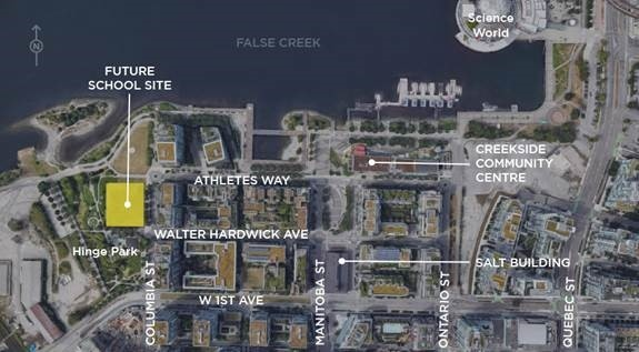 A map from the City of Vancouver shows the proposed location of a new Olympic Village elementary school.