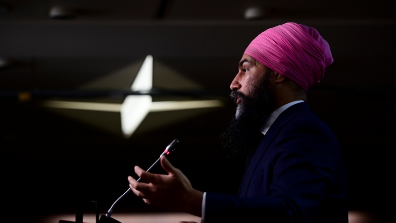 NDP leader Jagmeet Singh holds a press conference on Parliament Hill in Ottawa on Wednesday, Feb. 24, 2021. THE CANADIAN PRESS/Sean Kilpatrick
