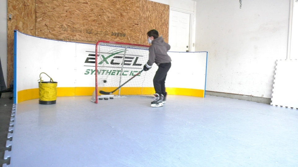 Excel Synthetic Ice pad demonstration on Feb. 24, 2021. (Marek Sutherland/CTV London)