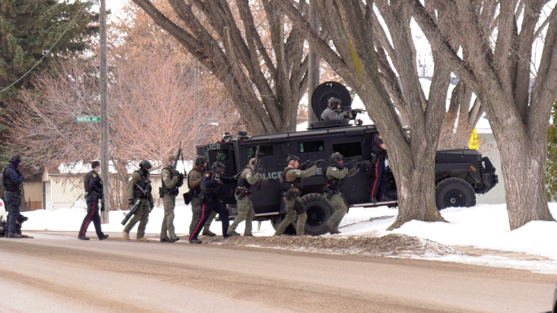 Saskatoon police are pictured on 20th Street West on Feb. 24, 2021. (Chad Hills/CTV Saskatoon)