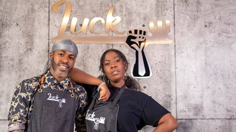 "Lucky and Ediri Okurame opened their new salon, ""Lucky Hair and Beauty Studio"", aimed to provide products and expertise to customers of all hair types in Regina. (Gina Martin / CTV News Regina)"