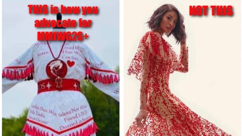 Screenshot of critical online post featuring an Anishinaabe and Mohawk fashion designer's dress, which used imagery of missing and murdered Indigenous women, girls and two-spirit people. The designer has since apologized saying she never intended the piece to be triggering. (Courtesy of Deb Nehiyaw, Lesley Hampton)