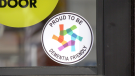 Signs are posted on businesses in Innisfail that have learned how to interact with people living with dementia and their care givers