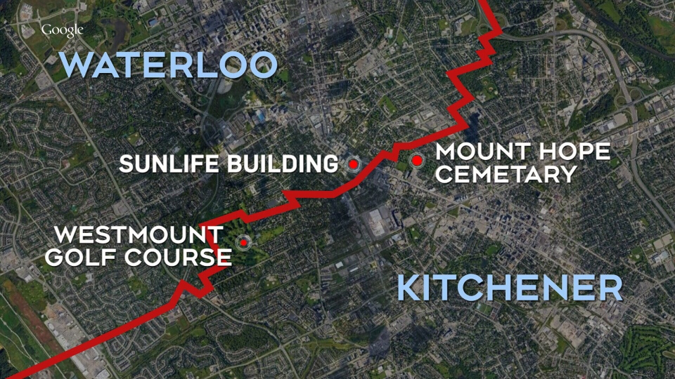 Map of shared land in Kitchener-Waterloo