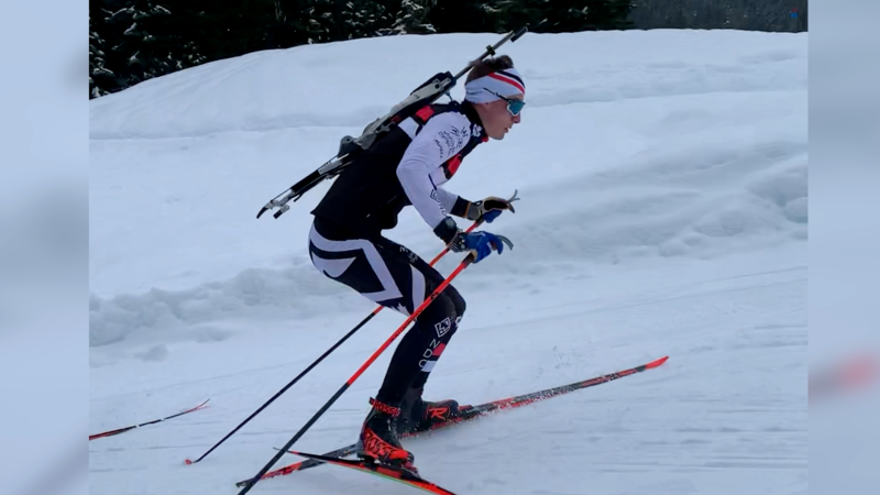Regina's Logan Pletz training in Whistler ahead of the World Junior Biathlon Championships. (Courtesy: Biathlon Canada)