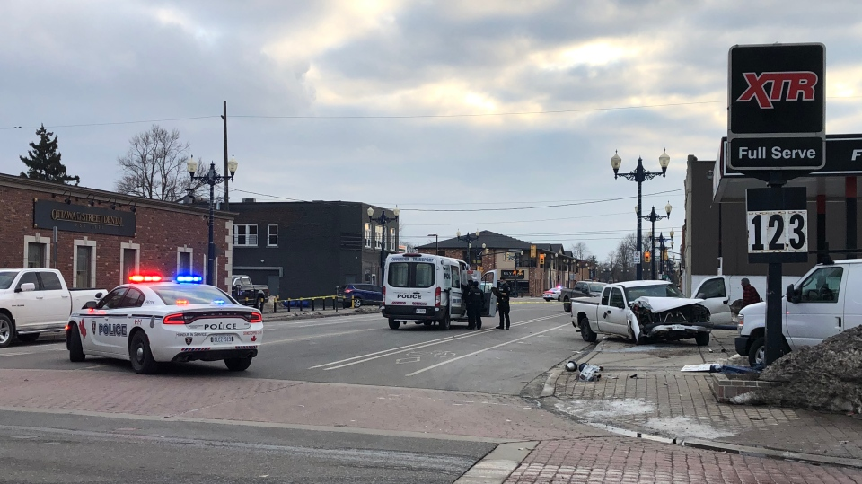 Windsor police had an area of Ottawa Street closed after a vehicle collision in Windsor, Ont. on Wednesday, Feb. 24, 2021. (Alana Hadadean/CTV Windsor)