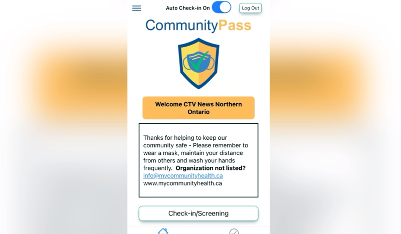 Called 'Community Pass,' the app allows users to conduct screening and check-ins before entering businesses, upload positive COVID-19 test results and send in papers confirming your vaccination. (Photo from video)