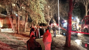 Fire crews at a northeast Edmonton apartment building. Feb. 24, 2021. (Sean Amato/CTV News Edmonton)