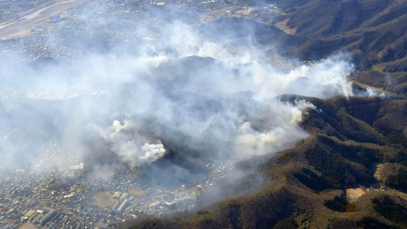 Smoke rises from the site of a wildfire in Ashikaga, Tochigi prefecture, north of Tokyo Wednesday, Feb. 24, 2021. (Kyodo News via AP)