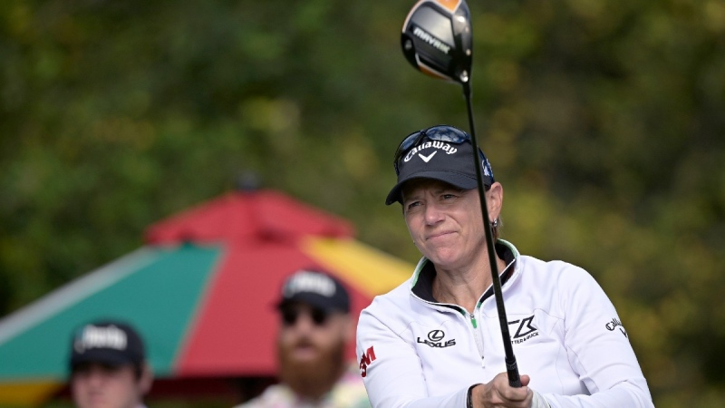 Annika Sorenstam during the first round of the PNC Championship golf tournament in Orlando, Fla., on Dec. 19, 2020. (Phelan M. Ebenhack / AP)