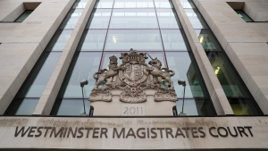 A general view of Westminster Magistrates Court in London, on Feb. 25, 2021. (Alastair Grant / AP)