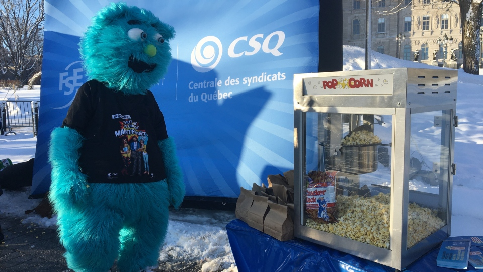 Free popcorn and protest in Quebec City