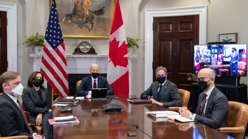 Secretary of State Antony Blinken (second from right) takes part in President Joe Biden's virtual summit with Canadian Prime Minister Justin Trudeau on February 23, 2021. (AFP)