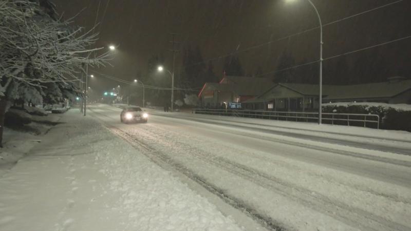 Sudden overnight snow covered some Metro Vancouver roads for the morning commute on Feb. 25, 2021.