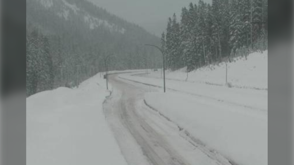 Highway 5, southbound at Zopkios Rest Area, near the Coquihalla Summit, looking northeast on Feb. 25, 2021. (DriveBC)