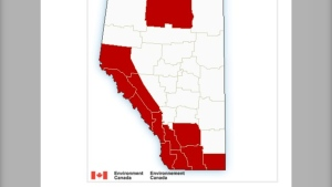 Mich of southwestern Alberta is included in wind warnings issued by Environment Canada on Thursday.