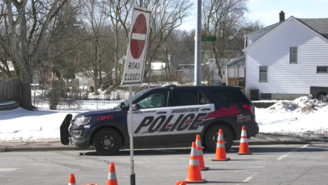 A Woodstock Police vehicle guards the scene on Mill Street on Thursday, Feb. 25, 2021. (CTV Kitchener)