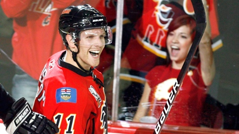 Calgary Flames' Fredrik Sjostrom, from Sweden, celebrates his goal during third period NHL hockey action against the Columbus Blue Jackets in Calgary, Tuesday, Oct. 20, 2009. (Jeff McIntosh / THE CANADIAN PRESS)