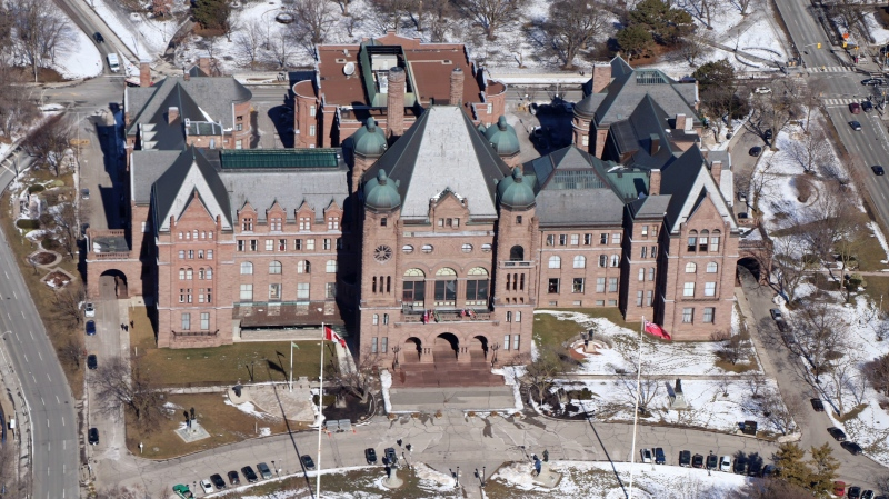 The exterior of Queen's Park in downtown Toronto is seen from CTV News Toronto's Chopper. (Ted Brooks)