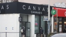 Exterior of Canvas Cannabis on Danforth Avenue in Toronto, on Feb. 25, 2021 (Patrick Cain / CTVNews.ca)