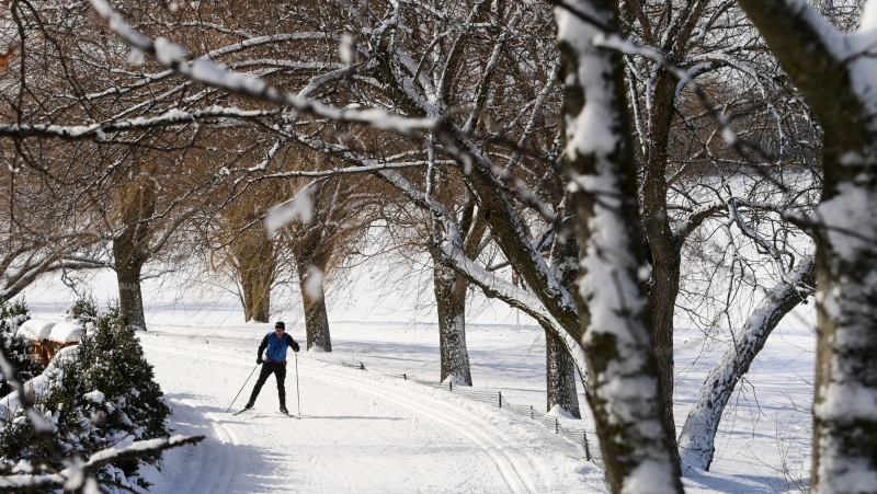 A cross-country skier glides along the banks of the Ottawa River in Ottawa on Thursday, Feb. 25, 2021. (Sean Kilpatrick/THE CANADIAN PRESS)