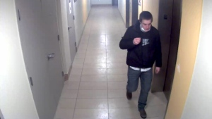 Police say they're looking to identify this man in relation to a break and enter in a Waterloo apartment (Supplied: WRPS)