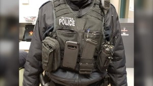 A picture of an Altona police officer wearing a body camera. (Source: Altona Police Service)