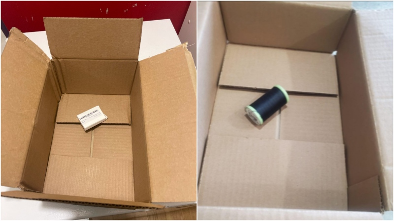 Photographs of small orders in large boxes delivered to viewers homes.
