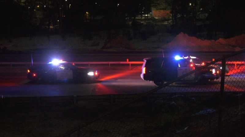 Police closed Highway 400 southbound and northbound through Barrie, Ont. at Dunlop and Bayfield Streets for an investigation on Thurs. Feb. 25, 2021 (Craig Momney/CTV News)