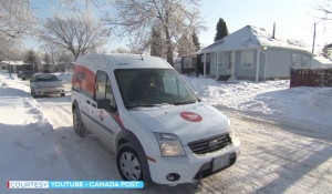 Be on the lookout for a special delivery from Canada Post. In the coming weeks, it will be mailing out 13.5 million postcards, one for every mailing address in Canada. (Photo from video)