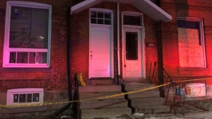 Police are investigating after the body of a newborn child was found buried in the basement of a home in downtown Hamilton. (CTV News/Corey Baird)