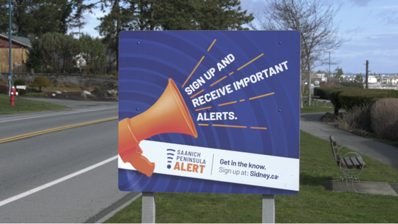 A public notice in Sidney encouraging people to sign up for Peninsula Alert is pictured: Feb. 25, 2021 (CTV News)