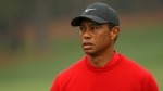 Tiger Woods of the United States looks on after a shot on the second hole during the final round of the Masters at Augusta National Golf Club in 2020. (Patrick Smith/Getty Images/CNN)