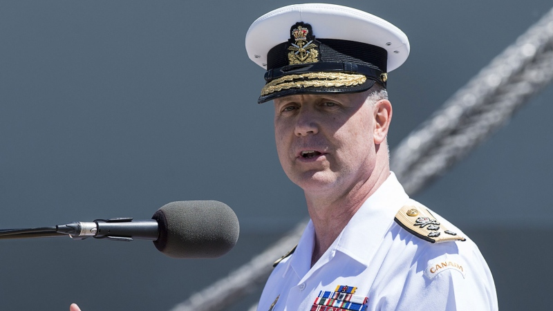 Vice-Admiral Art McDonald addresses the audience at the Royal Canadian Navy Change of Command ceremony in Halifax on Wednesday, June 12, 2019.  THE CANADIAN PRESS/Andrew Vaughan