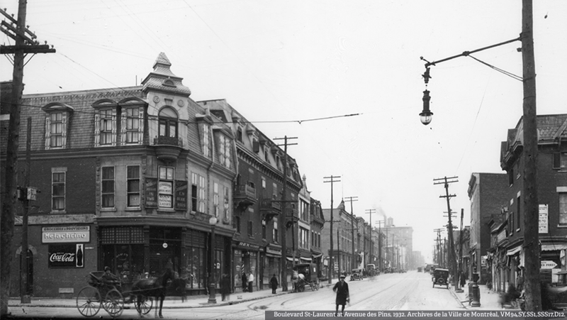 Boulevard St-Laurent at Avenue des Pins, 1932. Courtesy of the Archives de la Ville de Montréal, Reference No. VM94,SY,SS1,SSS17,D12.