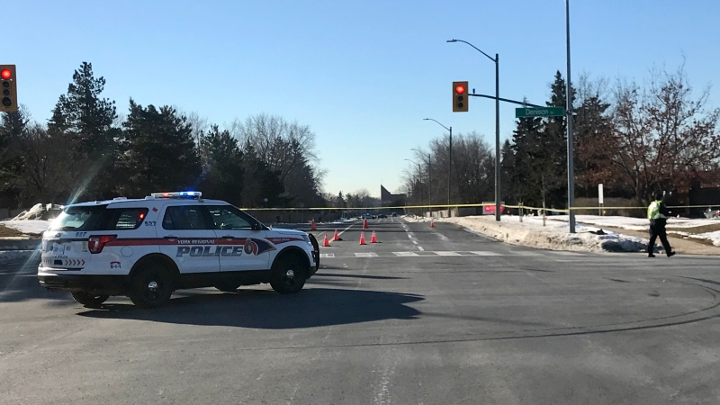 A woman is in hospital with serious injuries following a hit-and-run in Markham early Friday morning. (Francis Gibbs/CTV News Toronto)
