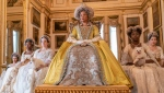 "This image released by Netflix shows Golda Rosheuvel as Queen Charlotte, center, in the romance series ""Bridgerton."" On Friday, Feb. 26, Netflix released a study it commissioned from top academic researchers that shows the streaming giant is outpacing much of the film industry in the inclusivity of its original films and television series. (Liam Daniel/Netflix via AP)"