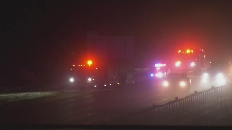 Emergency crews on Highway 400 in Barrie, Ont. on Thurs., Feb. 25, 2021 (Craig Momney/CTV News)