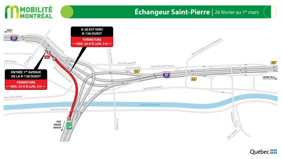 Saint-Pierre Interchange closures Feb. 26-Mar. 1