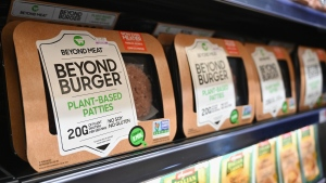 "Beyond Meat ""Beyond Burger"" patties made from plant-based substitutes for meat products strikes partnerships with McDonald's and Yum Brands. (Angela Weiss/AFP/Getty Images via CNN)"
