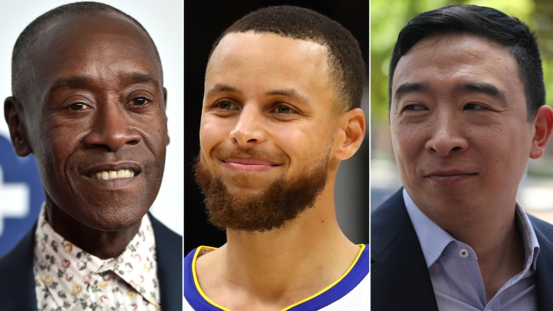 50 prominent men join push for 'Marshall Plan for Moms' proposal, including Don Cheadle (left), Steph Curry (middle) and Andrew Yang (right). (Getty/CNN)